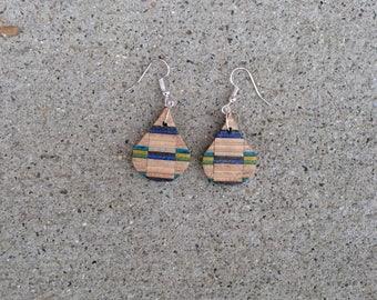 Blue Yellow Green Black teardrop earrings