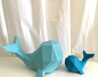 Whale 3d papercraft. With this purchase you get PDF digital downloadable files for this DIY (do it yourself) paper sculpture.