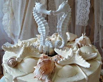 Seahorse Wedding Cake Topper-Coral- Seahorse cake topper-Kissing seahorse wedding cake topper-something blue-Beach wedding
