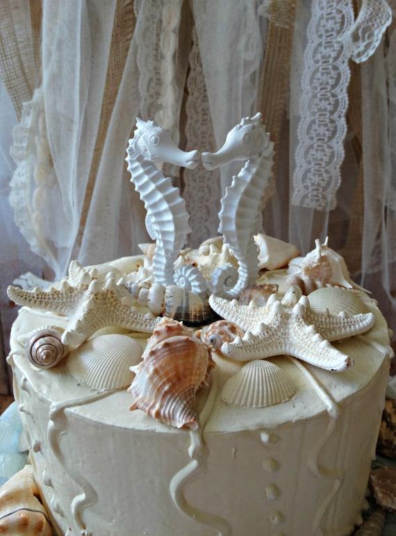 Seahorse Wedding Cake Topper-Coral Seahorse cake