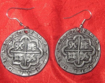 Antique  Silver  Color  Pirate  Pieces Of  Eight  Earrings