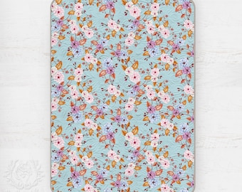 Kids Quilt Wild Roses Peach Pink Copper on Pale Blue, Wholecloth Kids Quilt in Cotton Sateen || STYLE 1 || Ships in 6 weeks