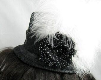 Black  with Organdy Flower Mini Top Hat Kentucky Derby or Wedding Hat