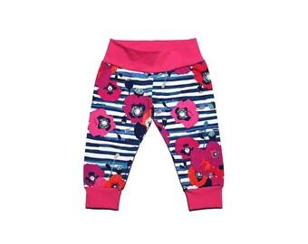 Poppy Leggings - Pink Floral Leggings - Girls Leggings - Baby Leggings - Toddler Leggings - Flower Leggings - Floral Pants - Floral Leggings