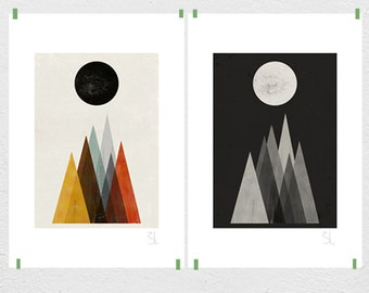Eclipse set of two big prints