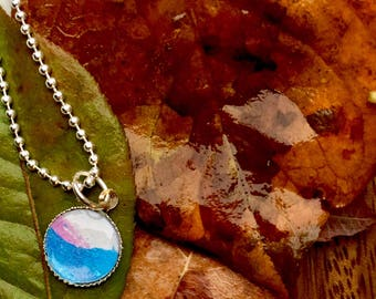 Vibrant multicolor watercolor art necklace. Wearable art