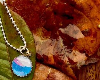 Vibrant multicolor watercolor art necklace. Wearable art