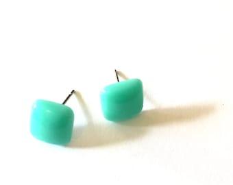square stud earrings | mint aqua studs | lucite cubes by leetie