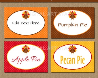 Thanksgiving Buffet Cards - EDITABLE Printable Thanksgiving Food Labels - Thanksgiving Dinner Place Cards Thanksgiving Labels Party Decor T1