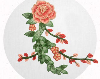 Open Petals on Long Stem - Flowers - Embroidery Patches