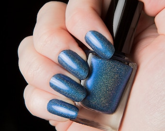 Allons-y! - Police Box blue holographic nail lacquer - .45oz/13.2mL