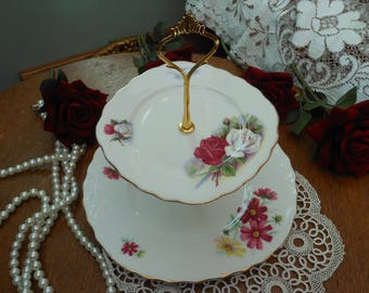 SALE - 1960's VINTAGE CAKE Stand - 2 Tier - Pink cake plate - Pink and white roses - Cosmos -Royal Osborne - Afternoon tea - Vintage party