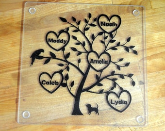 Glass Family Tree Cutting board, family tree, glass cutting board, personalized cutting board