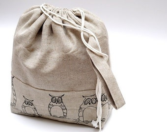 Large Knitting Project Bag. Mystic Owl.