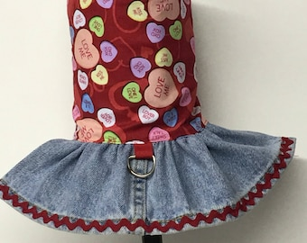 Valentine's Day Dog Dress, Dog Dress, Dog Clothing, Dog Clothes, Cat Clothing