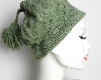 40s Unique Aran Cable Hand knitted pompom beanie  beret winter hat in Gooseberry Green Wool S M