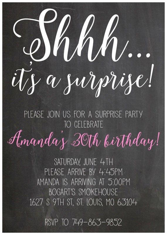 Shhh it's a suprise party birthday invitation 5x7 digital