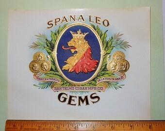 Vintage Cigar Box Label - Spana Leo Gems - San Telmo Cigar MFG. Co.