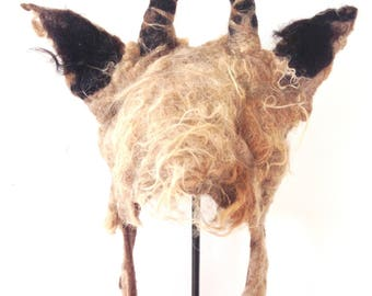 Mr Tumnus faune fauve coiffe cornes minuscules billy goat chapeau avec naturel caramel toison brute pour Narnia théâtre costume païen GN
