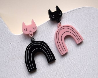 Pink and Black Rainbow Cat Earrings - Cat earrings - Rainbow Earrings - Black Cat - Acrylic jewellery - Laser cut jewellery - Cat jewellery