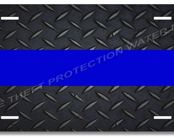 """Thin Blue Line Police Support Law Enforcement Novelty Vanity License Plate Tag 6""""x12"""" Gift"""
