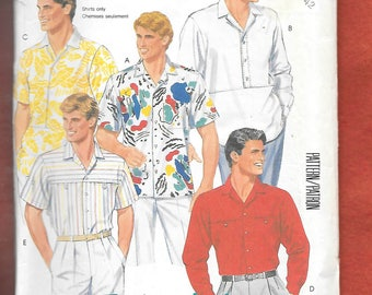 Vintage 1980's McCall's 2379 Men's Casual Shirts, Pocket Details, Straight Or Shirt Tail Hem, Long Or Short Sleeves, Size 42, UNCUT