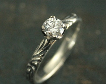 Vintage Style Engagement Ring--Antique Style Ring--Florence Flourish Ring--Silver and 14K White Gold Ring--Moissanite Ring--CZ Ring