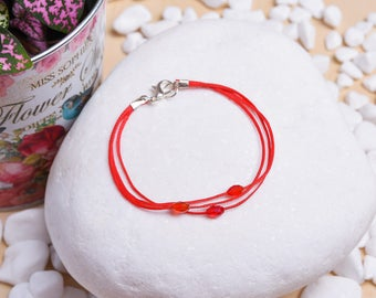 Hand Crafted Minimal Bracelet with Waxed Cord and Semi-Precious Stone Beads - Gift Idea Jewelry