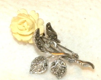 Vintage German Art Deco Sterling Silver & Marcasite Bone Rose Brooch Pin