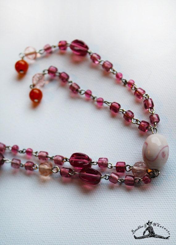 Pink Glass Beaded Long Necklace - Tassel Necklace - OOAK