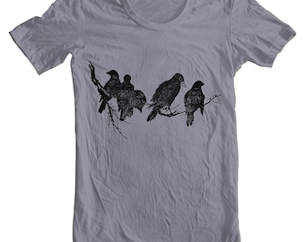 Mens T Shirt Birds on a Limb American Apparel Tshirt Animal Birds Block Print Style Screen Printed Shirt XS, S, M, L, XL IR2