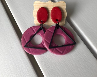 Colour Pop Pink & Red Earrings