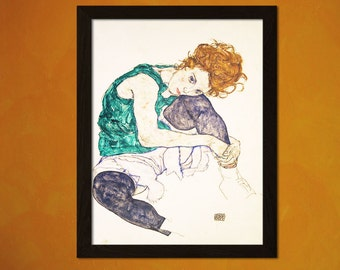 Seated Woman With Bent Knee 1917 Egon Schiele Print - Fine Art Print Retro Home Decorating Home Decor Home Decorating Expressionism