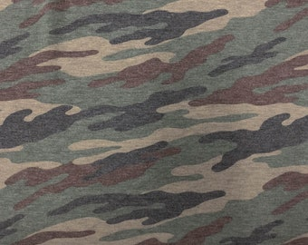 6 Colors of Camouflage Prints on French Terry Fabric by the yard - Style P-197-506