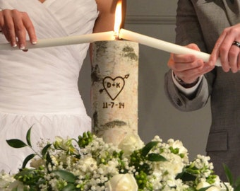 Rustic Unity Candle, Monogram Ceremony Wedding Unity Candle, Personalized Unity Birch Candle Holder Set with Wedding Date