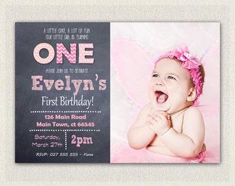 1st Birthday Invitation Pink - Girls Chalkboard Birthday Invite Printable / First birthday / Girls 1st birthday Invitation (12)