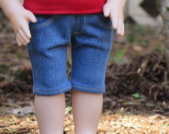 CLEARANCE! 18 Inch Doll Denim Shorts - Knee-length Medium Denim Shorts - 18 Inch Doll Shorts - Liberty Jane Shorts - Modern Doll Clothes