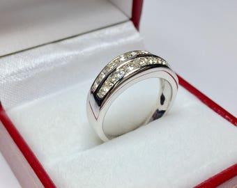 Vintage 1960's 1.00CT Diamond Ring l 14KT White Gold Diamond Ring l Multistone Ring l Vintage Diamond Ring l Wedding Band