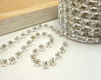 Silver Rhinestone Chain, Clear Crystal Trim, (6mm / 10 Yard /1 Roll Qty)