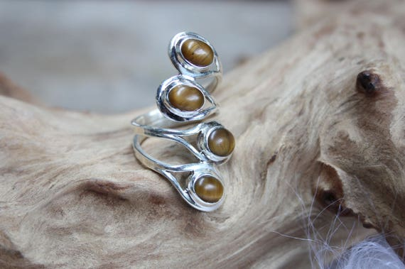 4 Stone Tigers Eye Ring - ADJUSTABLE - 925 Sterling Silver Ring - Statement Ring - Healing Crystal - Crystal Jewellery - Gift - Vintage Ring