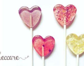 Flower Heart Lollipops // Spring Wedding Favors // Summer Weddings // Edible Flower Lollipops // Leccare Lollipops  // 20 count
