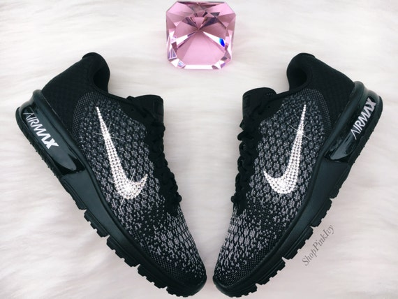 brand new a4d73 59dcd ... SIZE 11 Swarovski Nike Air Max Sequent 2 Running Shoes Black ...