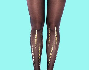 Bamboo gold print, black tights available in S-M, L-XL gift for her, gift ideas