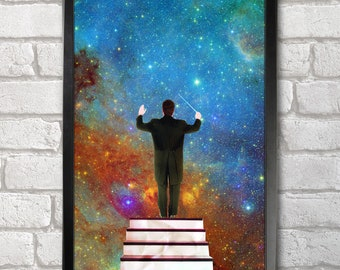 Stars Conductor print + 3 for 2 offer! size A3+  33 x 48 cm;  13 x 19 in, Space Collages