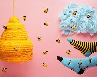 Bee Bee Socks | men socks | colorful socks | mismatched socks | womens socks | unique socks | patterned socks | crazy socks | Many Mornings