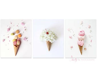 Set of Three Prints- Ice Cream Cone Photos, Still Life Photography, Flower Cones, Macaron Cone, Kitchen Cafe Decor, Nursery Decor, Save 15%