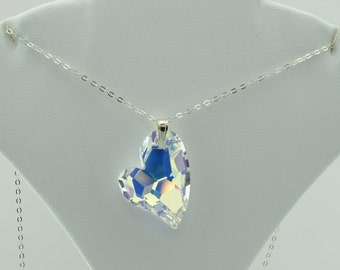Large Swarovski Crystal AB Devoted to You Heart Sterling Silver Pendant Necklace