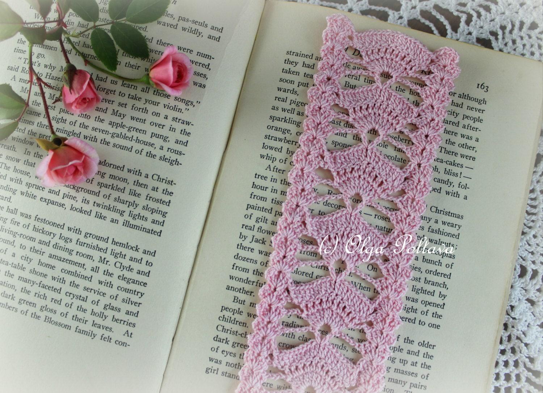 Crochet Bookmark Pattern, Pink Fans Crochet Bookmark, Crochet Lace ...