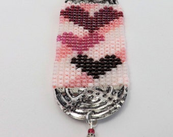 Three Heart Pendant in shades of Pink and Reds SKU: PEN1002