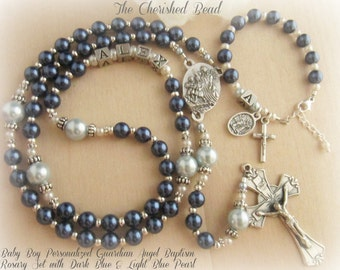 Baby Boy Baptism Personalized Guardian Angel Rosary Set with Dark Blue & Light Blue Pearl